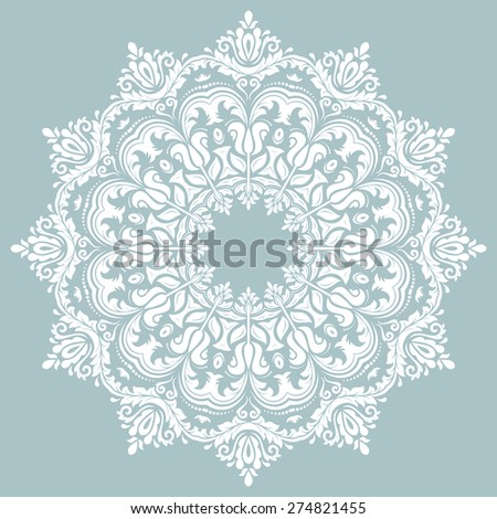 Floral vector oriental pattern with arabesque and floral elements. Abstract ornament for background. Blue and white colors - stock vector
