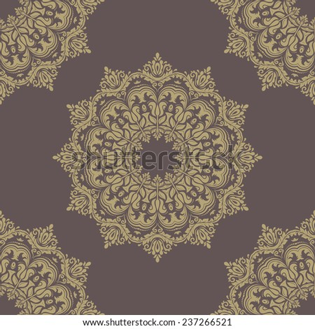 Floral vector oriental pattern with damask, arabesque and floral golden elements. Seamless abstract ornament for wallpapers and backgrounds - stock vector