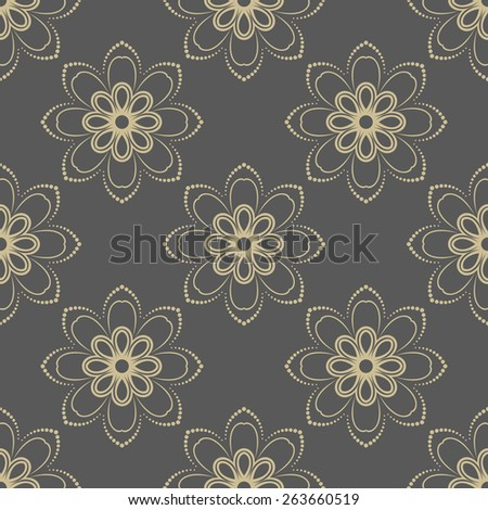 Floral vector oriental pattern with golden floral elements. Seamless abstract ornament - stock vector