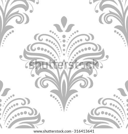 Floral vector ornament. Seamless abstract classic fine silver pattern - stock vector