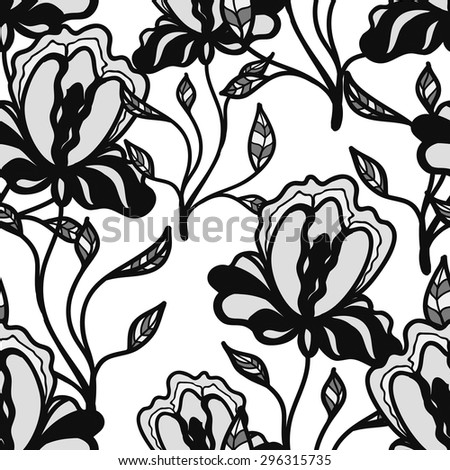 Floral vector pattern with iris. Black and white pattern with blue linear flowers. Seamless pattern can be used for printing textile, wallpaper , wrapping paper. Linear art. Hand drown texture - stock vector