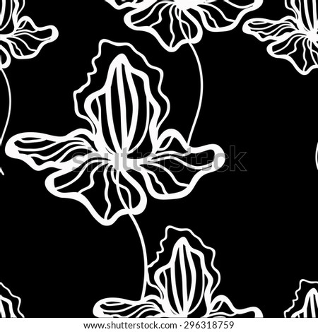 Floral vector pattern with iris. Black  pattern with white flowers. Seamless pattern can be used for printing textile, wallpaper , wrapping paper. Linear art. Hand drown black and white  texture - stock vector