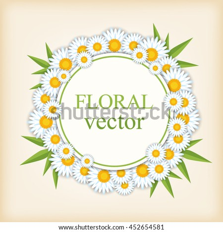 Floral vector round banner. Decorative element for design.