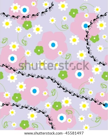 Floral vector seamless background illustration of termite - stock vector
