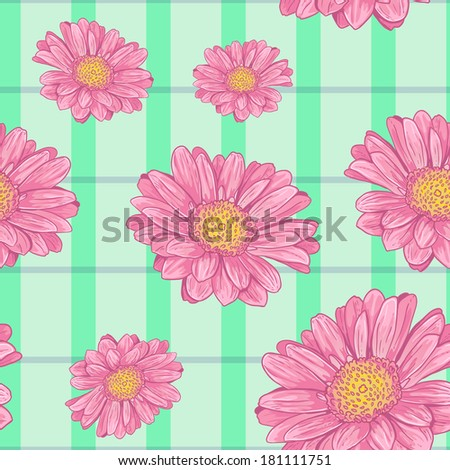 Floral vector seamless background with pink daisy, eps10 - stock vector