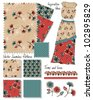 Floral Vector Seamless Fashion Patterns.  Use to create stunning textiles or use the fashion template to create your own. - stock vector