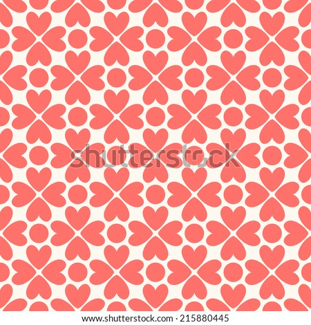 Floral vector seamless pattern. Red and white shabby colors. Endless texture can be used for printing onto fabric and paper or scrap booking. Flower abstract shape with heart. - stock vector