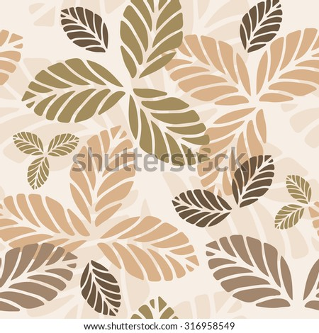 Floral vector seamless pattern with autumn leaves - stock vector