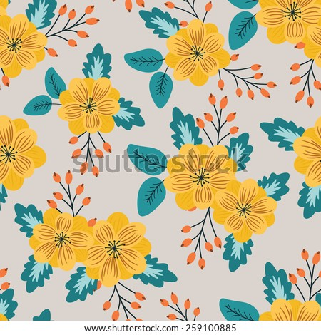 Floral vector seamless pattern with field flowers (retro background)
