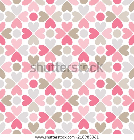 Floral vector seamless pattern with heart and dot shapes. Endless texture can be used for printing onto fabric and paper or scrap booking. Romantic ornament - stock vector
