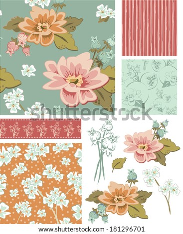 Floral Vector Seamless Patterns and Elements. Use as fills, digital paper, or print off onto fabric to create unique items. - stock vector