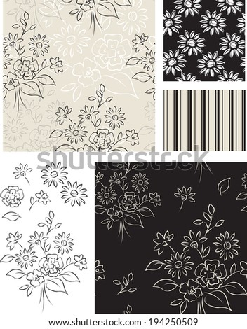 Floral Vector Seamless Patterns and Icons.  - stock vector