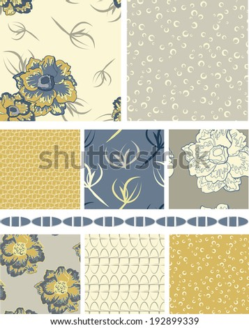 Floral Vector Seamless Patterns and trim.  Use as fills, backgrounds or digital paper.  Would look great printed onto fabric. - stock vector