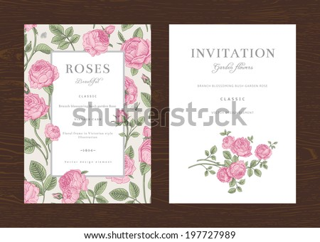 Floral vector vertical vintage invitation. Set. Pink Garden Roses. - stock vector