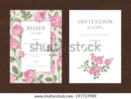 Floral vector vertical vintage invitation. Set. Pink Garden Roses. - stock vector