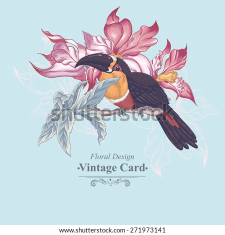 Floral Vector Vintage Card with Exotic Flowers and Toucan. Vector Design element.