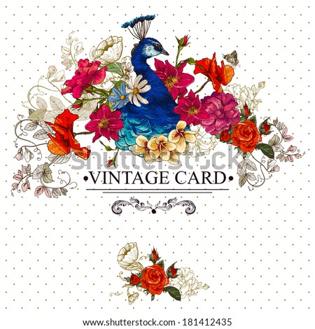 Floral Vector Vintage Card with Peacock and Butterflies. Victorian style. Vector Design element.  - stock vector