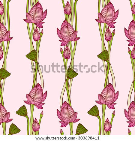 floral vertical stripes. Vector seamless pattern - lotus flowers - stock vector