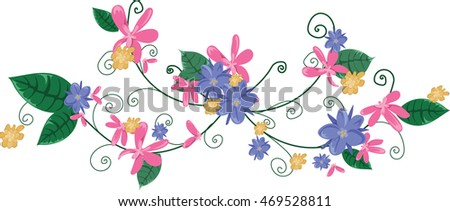 Floral vine purple pink yellow flowers stock vector 469528811 floral vine purple pink and yellow flowers of varying sizes on a green swirling mightylinksfo