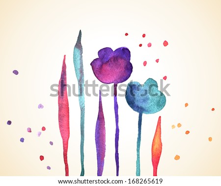 Floral vintage background. Watercolor flowers. Vector illustration. Spring background. Watercolors wet on wet paper. Watercolor composition for scrapbook elements with empty space for text message. - stock vector