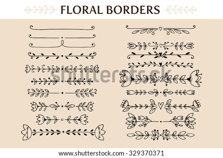 Floral vintage borders and scroll elements. Hand drawn vector design elements