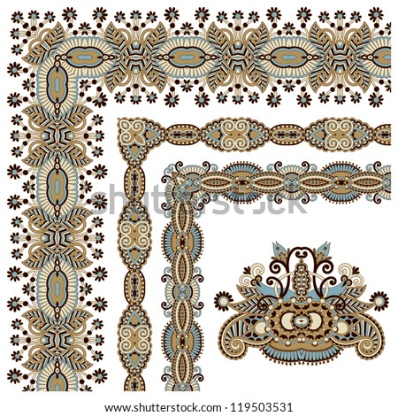 floral vintage frame design. Vector set. All components are easy editable - stock vector