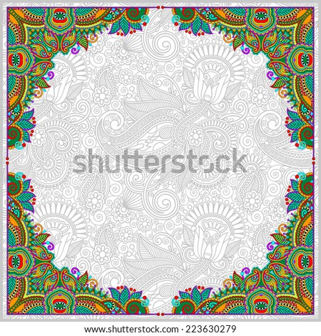 floral vintage frame, ukrainian ethnic style. Vector illustration