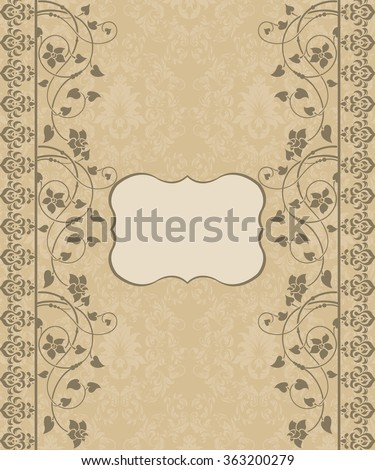Floral vintage invitation card  - stock vector