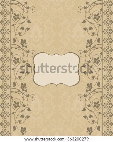 Floral vintage invitation card  - stock vector