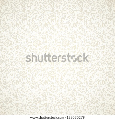 Floral vintage seamless pattern on light background - stock vector
