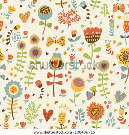 Floral vintage seamless pattern with butterflies - stock vector