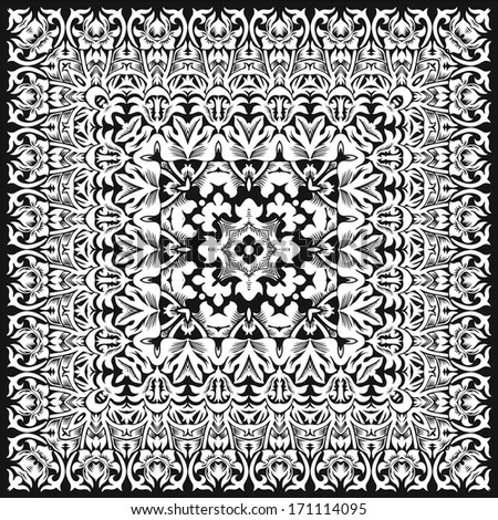 Floral Vintage Vector Background. White and black background.