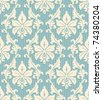 floral wallpaper pattern light yellow ornament and blue striped background - stock photo