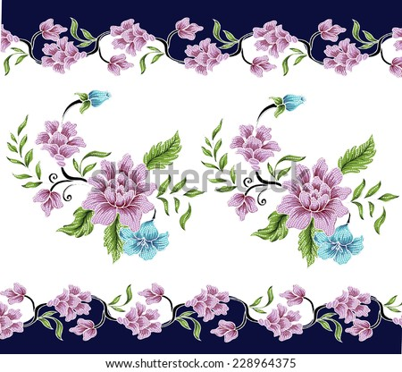 Floral Wallpaper with hand-drawn. - stock vector