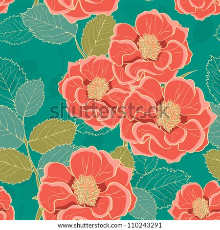 Floral Wallpaper with hand-drawn flowers retro colored - stock vector