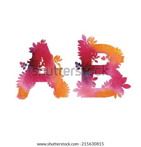 Floral Watercolor Alphabet. Letters A end B.  - stock vector