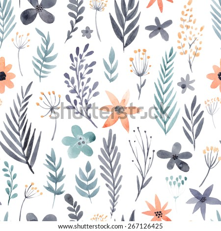 Floral watercolor seamless pattern. Beautiful vector hand drawn texture. Romantic background for web pages, wedding invitations, save the date cards. Watercolor vector. - stock vector