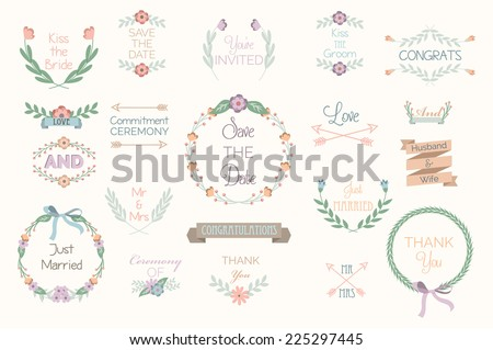 Floral Wedding Elements, Hand Drawn - stock vector