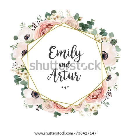 Floral wedding invitation elegant invite card stock vector 738427147 floral wedding invitation elegant invite card vector design garden flower pink peach rose stopboris