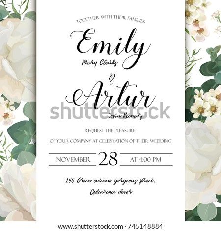 Floral wedding invitation save date card stock vector 745148884 floral wedding invitation save the date card elegant invite card vector design garden flower white stopboris