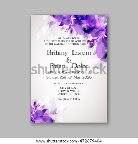 Floral wedding invitation template stock vector 472679404 shutterstock stopboris Choice Image