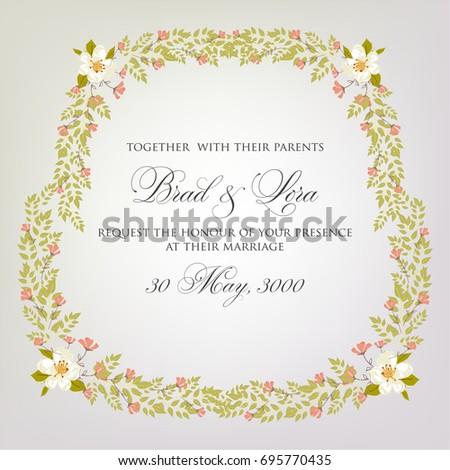 Peony floral wedding invitation card printable stock vector floral wedding invitation template card stopboris Choice Image