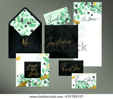 Floral wedding invitation vector templates blueberry stock vector floral wedding invitation vector templates with blueberry twigs leaves and berries watercolor textured seamless stopboris Images