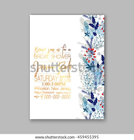 Floral wedding invitation with winter christmas wreath. Merry Christmas and Happy New Year Card - stock vector
