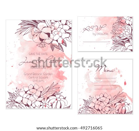 Floral wedding set on peach background with doodle flower illustrations. Nice and elegant templates for any gentle wedding.