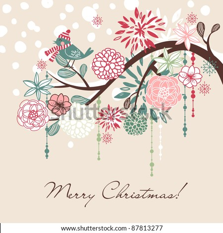 Floral Winter background. - stock vector