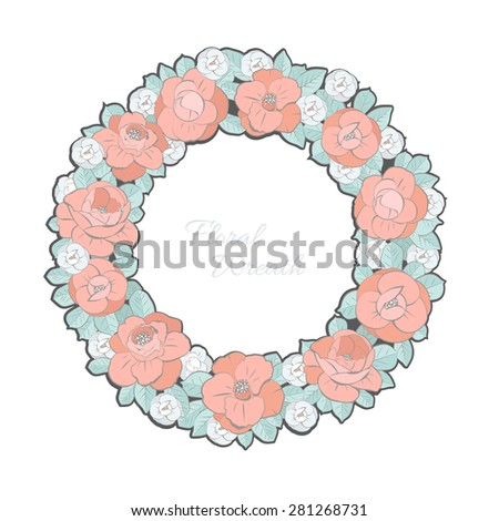 Floral Wreath - stock vector