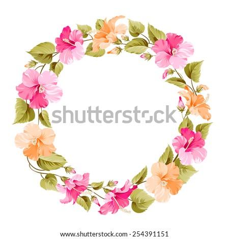 Floral wreath for Vintage Label. Vector illustration. - stock vector