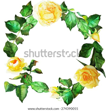 Floral wreath. Invitation. Wedding or birthday card. Floral frame. Watercolor background with yellow roses. - stock vector