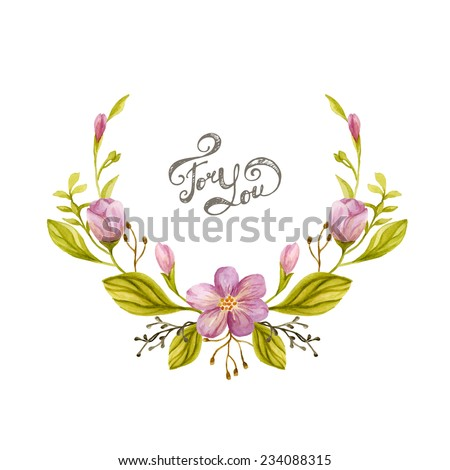 Floral wreath watercolor. Frame made of hand drawn flowers and  leaves. Greeting card or Invitation  - stock vector